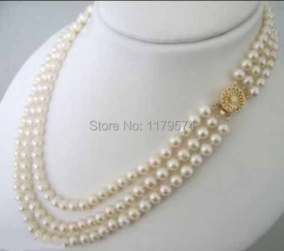 3Rows 7-8mm White Akoya fashion shopping girl Cultured Pearls Necklace 17-21 beads jewelry making ZH0275(China (Mainland))