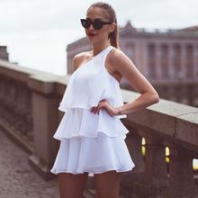EBay supply range of new European and American women's hem layer cake  Shoulder Straps Chiffon Dress son(China (Mainland))