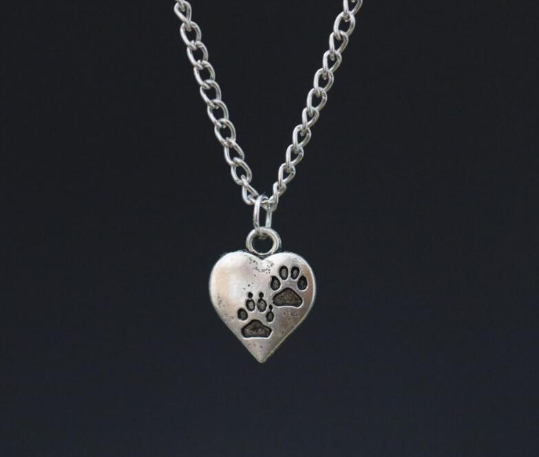 """Vintage Ancient Silver Bear Dog Cat Paw Prints Charms Alloy Heart Pendant 18"""" Chain Necklace ~ Gift(China (Mainland))"""
