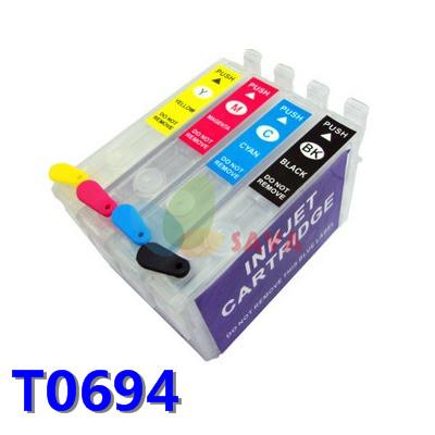 1set 4pcs Refillable ink cartridge T0694 FOR STYLUS CX5000 CX6000 CX7000F CX7400 CX8400 CX9400 CX9475F with AUTO RESET CHIP
