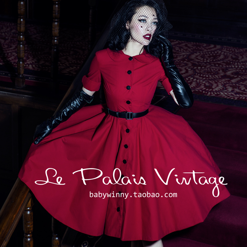 Le palais vintage elegant red classic peter pan collar half sleeve one-piece dress