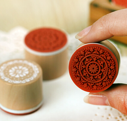 Cute Wooden and rubber Decoration Lace6 designs scrapbooking deco Stamps Flower Diy funny work JJ0049(China (Mainland))