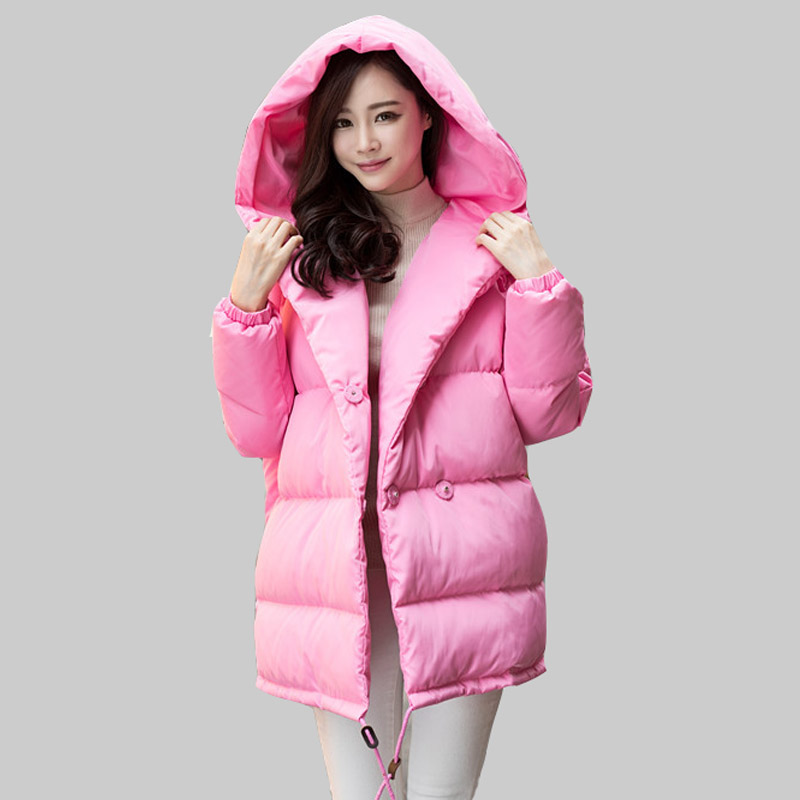 2016 Fashion Hooded Thicken Women Winter White Duck Down Jacket  Solid Color Double-breasted Parkas Mujer Winter Down Coat DQ687