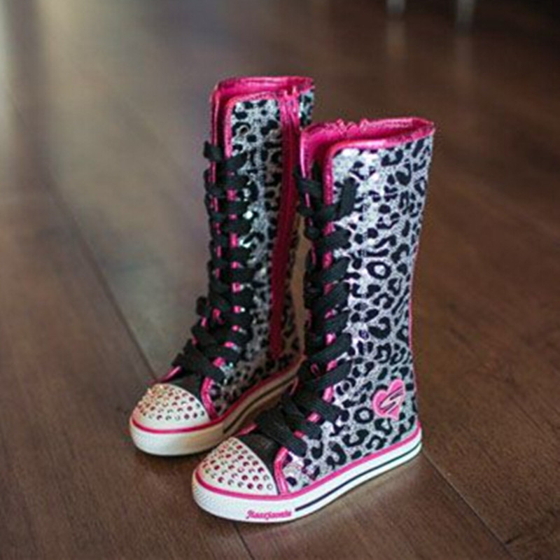 2015 autumn new fashion knee boots Kids Children shoes Girls sequined help top shoes Children Martin boots gold shoes<br><br>Aliexpress