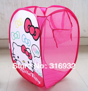 P3 Free Shipping, Hello kitty Dirty Clothes Laundry basket, foldable, 1pc
