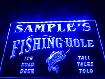 DZ054- Name Personalized Custom Fly Fishing Hole Den Bar Beer Gift  LED Neon Light Sign