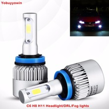 Buy C6 Extremely Bright 72W COB LED Chip 8000 Lumens Headlights Fog Lights Driving DRL Bulbs Conversion Kit H11 H8 6000K Xenon White for $33.60 in AliExpress store