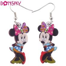 Bonsny Drop Brand Big Long Dangle Pink Mouse Earrings Acrylic New 2016 Animal Jewelry Girls Women Cartoon Earrings Accessories(China (Mainland))