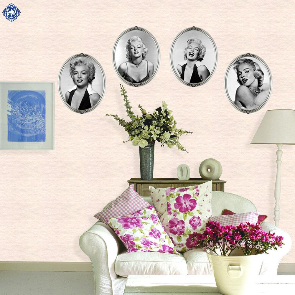 4pcs marilyn monroe wall sticker home decor vinilos for Decoration autocollant mural
