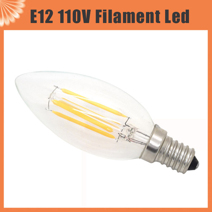 New Design Light 2W 4W E12 110V AC Dimmable LED Filament Candle Bulbs CRI 80 360 Degree replace 20w 40w Incandescent lamp(China (Mainland))