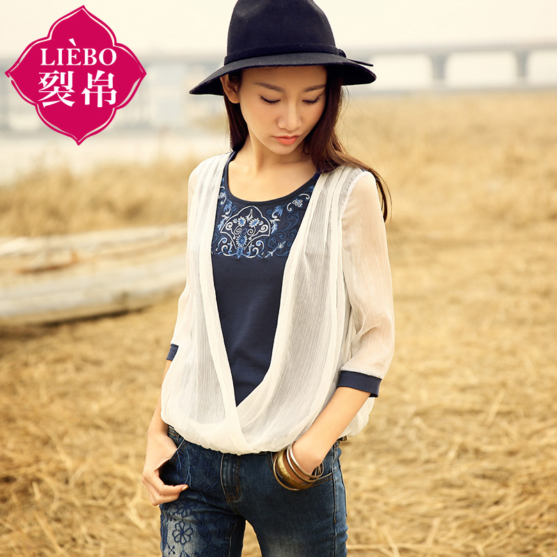 Pre-crack genuine silk 2015 summer hit stitching embroidery blouse knitted cropped-shirt woman 51141037Одежда и ак�е��уары<br><br><br>Aliexpress