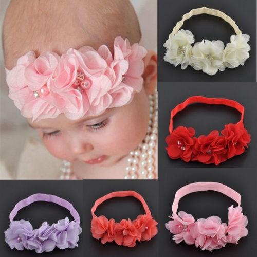 Fashion Chiffon Baby Girl Flower Headband Soft Elastic Hairband Hair Accessories dropshipping