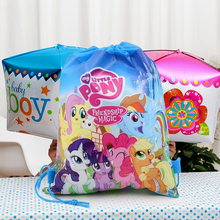 Buy little pony cartoon theme non-woven fabric birthday party decoration drawstring gifts bags kids favors baby shower supplies for $1.06 in AliExpress store