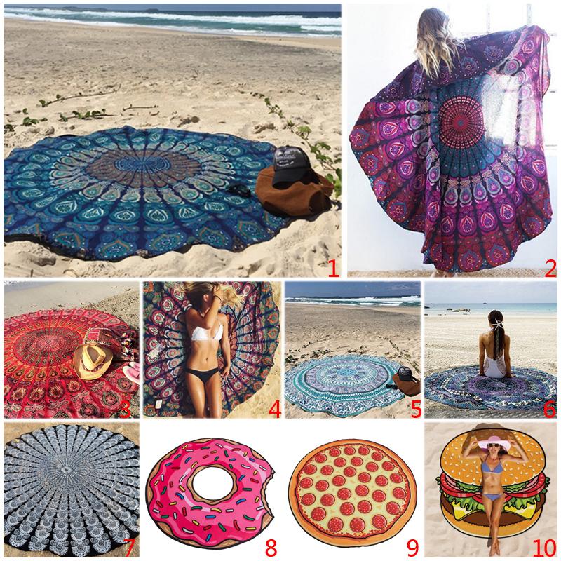 Adult Women Chiffon Throw Tapestry Boho Tablecloth Shawl Yoga Mat Peacock Round Beach Towel 150cm(China (Mainland))