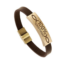 Men Gift Vintage Jewelry Steampunk Brown Leather Bracelet Charm Bracelet 100% Engraved CC10900
