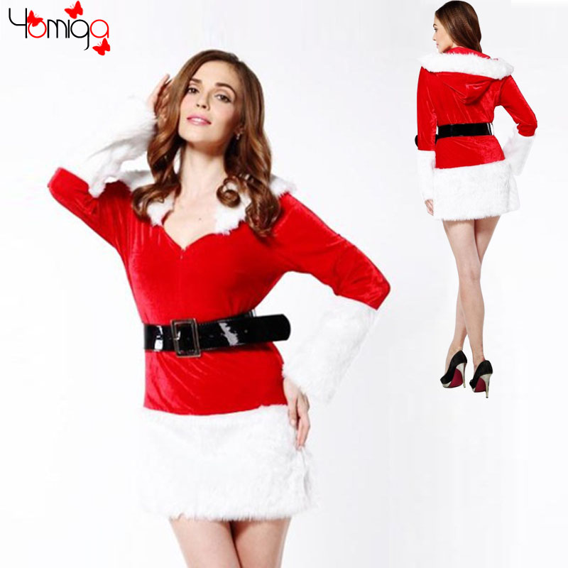 CLEARANCE SALE full sleeves plunge Christmas costume suit winter new year costumes dress carnival red sexy women santa costume(China (Mainland))