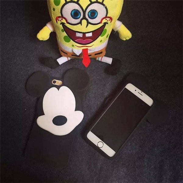 2015 NEW HOT Listing Cartoon Character Transparent No face big ears Mickey Mouse Skin Case Cover for iphone 6 6plus(China (Mainland))