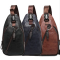 New Men PU Leather High Quality Travel Cross Body Messenger Shoulder Fahion Casual Sling Pack Chest