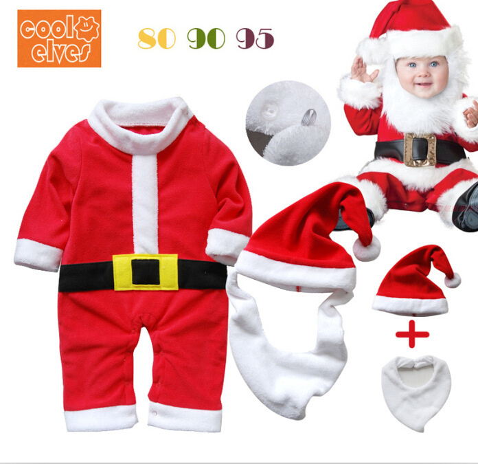 New 2014 Christmas baby jump suit winter romper clothing sets romper+ hat long newborn Boy Coat and Pant Girl Dress sets R007(China (Mainland))