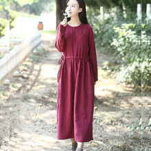 Long sleeve Solid Linen Cotton Women long Dress Autumn Casual Mori girl style Gown Robe Dress Women Brand Plus size Dresses 3003