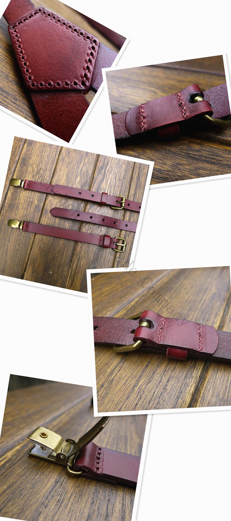 Новый коричневый кожаный ремешок женщины мужчины подтяжки кожи головы британский ретро tri-rail зажим подтяжки подтяжки шириной 2 см бесплатная доставка