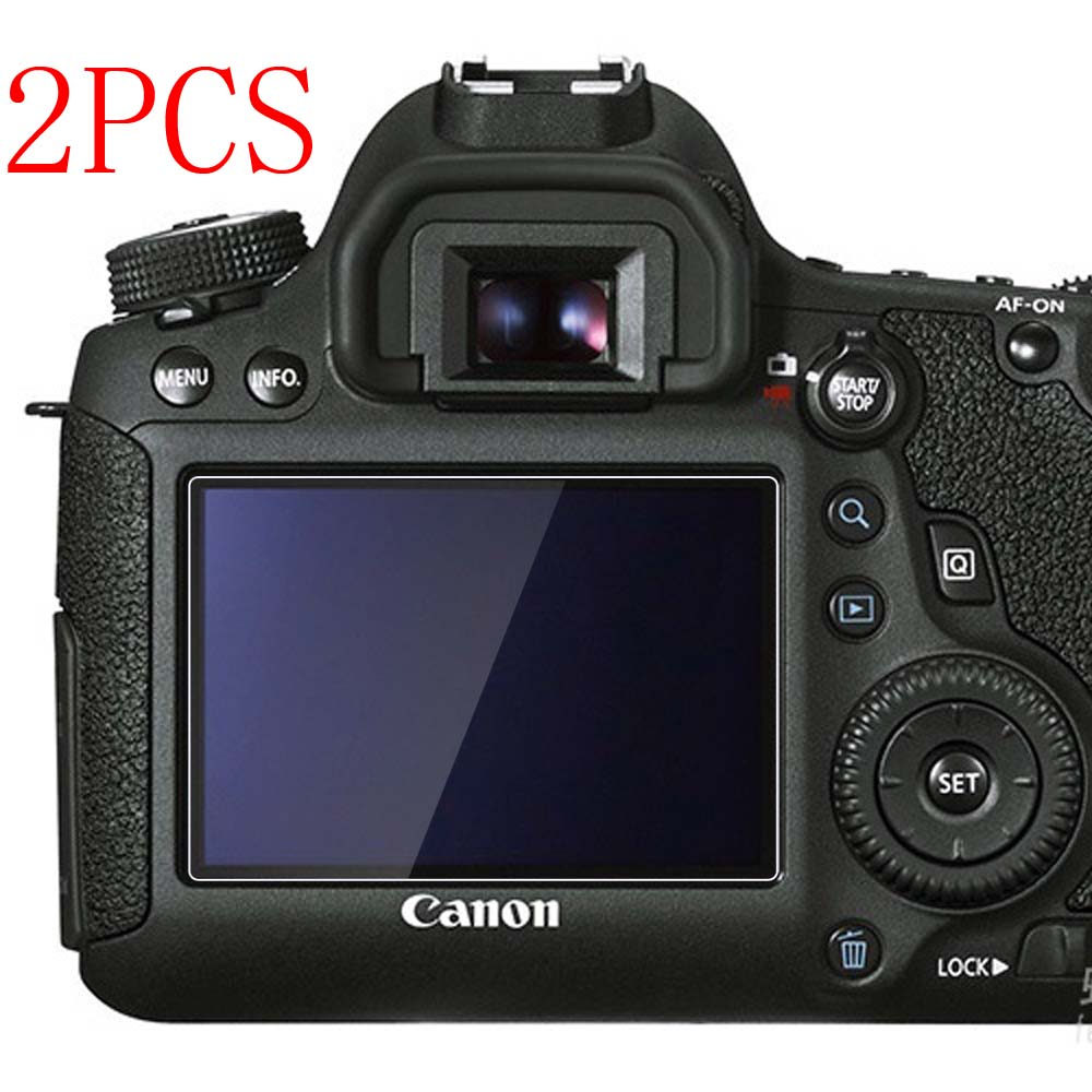 PCTC 2PCS 0.3mm Optical Tempered Glass HD LCD 9H Screen Protector Cover Film Camera Protection For Canon 6D(China (Mainland))