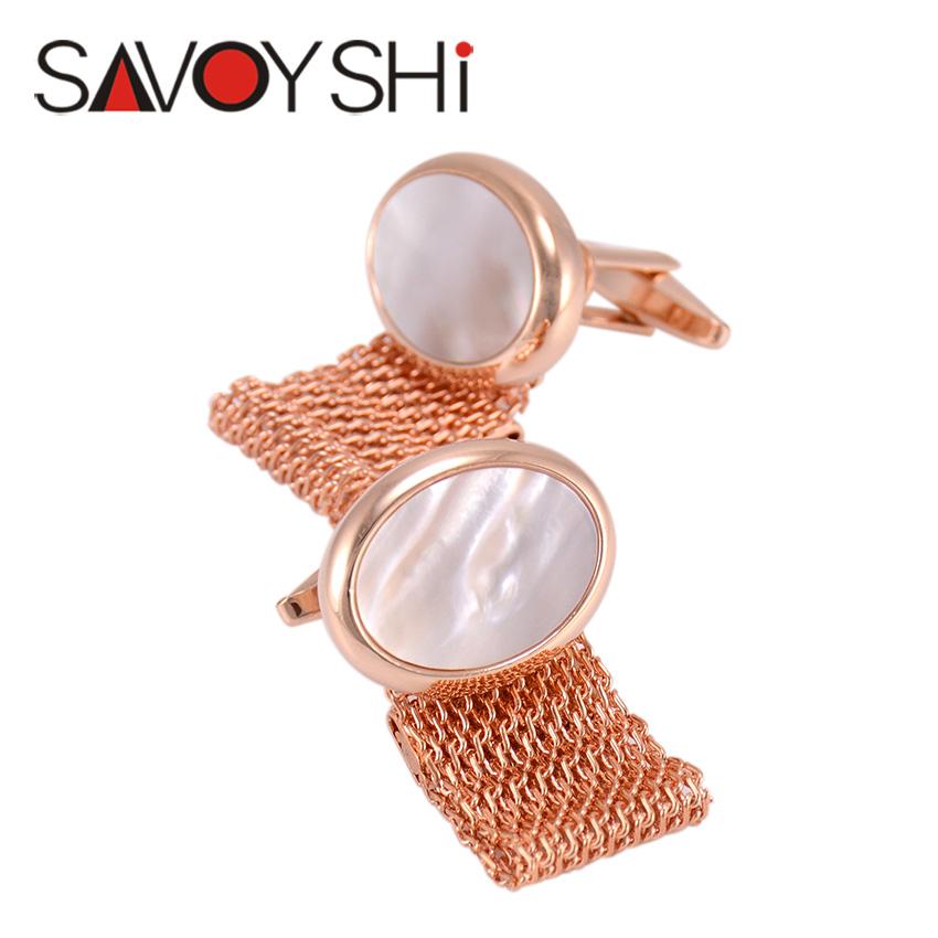 SAVOYSHI Jewelry Mens Shirt Shell Cufflinks Cuff For Wedding Brand High Quality Chain Cuff Link Buttons Luxury Mens Cufflinks(China (Mainland))