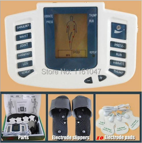 309 new Electrical Stimulator Full Body Relax Muscle Therapy Massager,Pulse tens Acupuncture with therapy slipper+ 10PCS pads()
