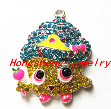 46x31mm10pcs/lot silver Zinc alloy cupcake queen rhinestone Pendants for Jewelry Necklace making (As shown)(China (Mainland))