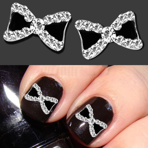 2015 Popular 10pcs/set 3D Metal Rhinestone Bowknot Bow Tie Nail Art Salon Stikers Tips Glitters DIY Decorations(China (Mainland))