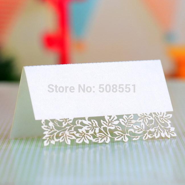 Luxo Branco Perolado Laser-cut Place Card cartão de Cartões de Mesa Assento Cartão 12 pcs(China (Mainland))