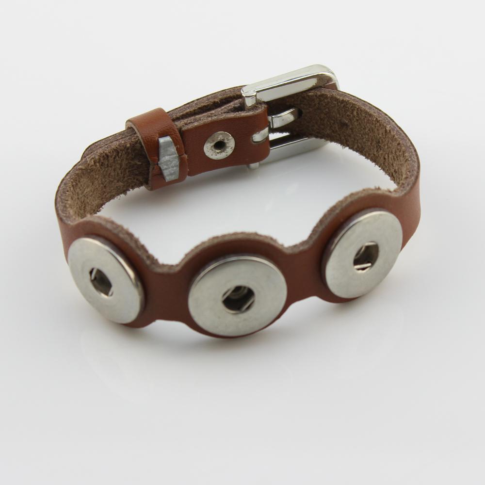 HOT sale 2.4*26cm leather snaps bracelets button bracelet fit ginger snap button(China (Mainland))