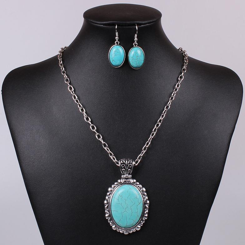 Party turquoise costume jewelry necklace earring for Turquoise colored fashion jewelry