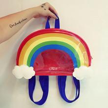 NEW 2016 HOT-sale ulzzang Harajuku backpack soft sister cute transparent schoolbag Mini rainbow women men travel shoulder bag(China (Mainland))