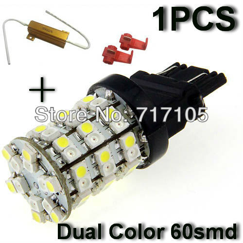 Car LED 3157 3356 3456 3457 4157 T25 Switchback Dual Color 60SMD Turn Signal Light Bulbs Resistor White+yellow - guanghuang Auto bloc store