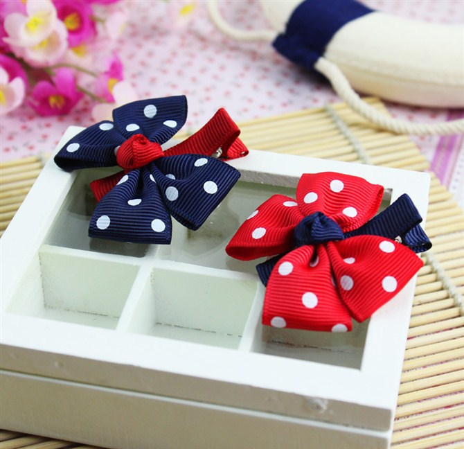 2pieces/ lot, 2015 big bow dot children hairpins kids headwear baby girls hair accessories clip barrettes flower(China (Mainland))