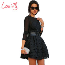 2015 vestido de renda Robe Dentelle embroidered Ball Gown Black dress long sleeve sexy evening party desigual lace dress Cute(China (Mainland))