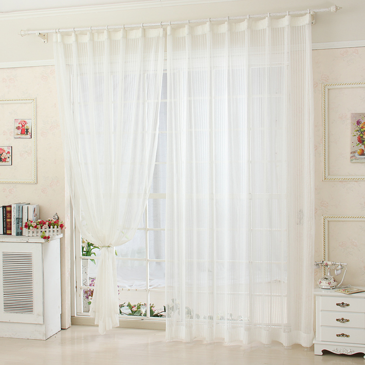 Finshed product striped white all match screens modern - Cortinas blancas modernas ...