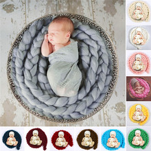 Newborn Photography Props Baby Photo Blanket 12 Colors 4M Long Basket Acrylic Filler Braid Basket Stuffer atrezzo fotos bebe(China (Mainland))