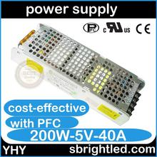 YHY power supply 200W 5V40A 220V input volt voltage YHY cost effective cheap famous in China fast delivery(China (Mainland))