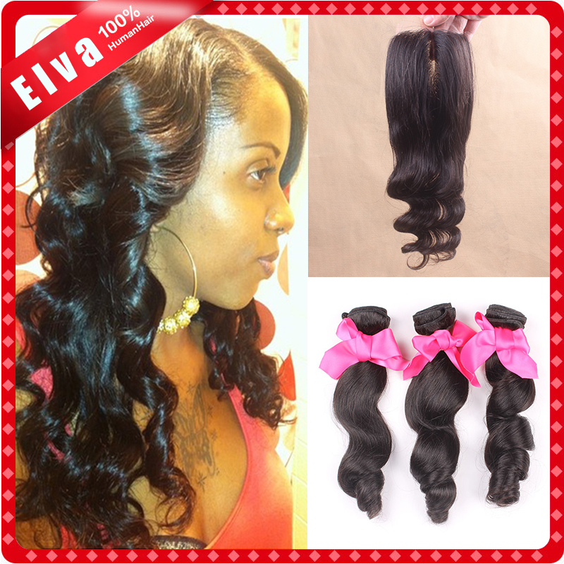 6A Virgin Malaysian Loose Wave With Closure 4pcs lot Malaysian Top Lace Closure With Bundles Cheap Human Hair Weave With Closure