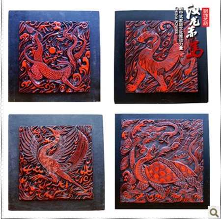 O'Hanlon Chima Chinese folk arts and crafts style home decoration lacquer painting three-dimensional wall - four lines of God(China (Mainland))