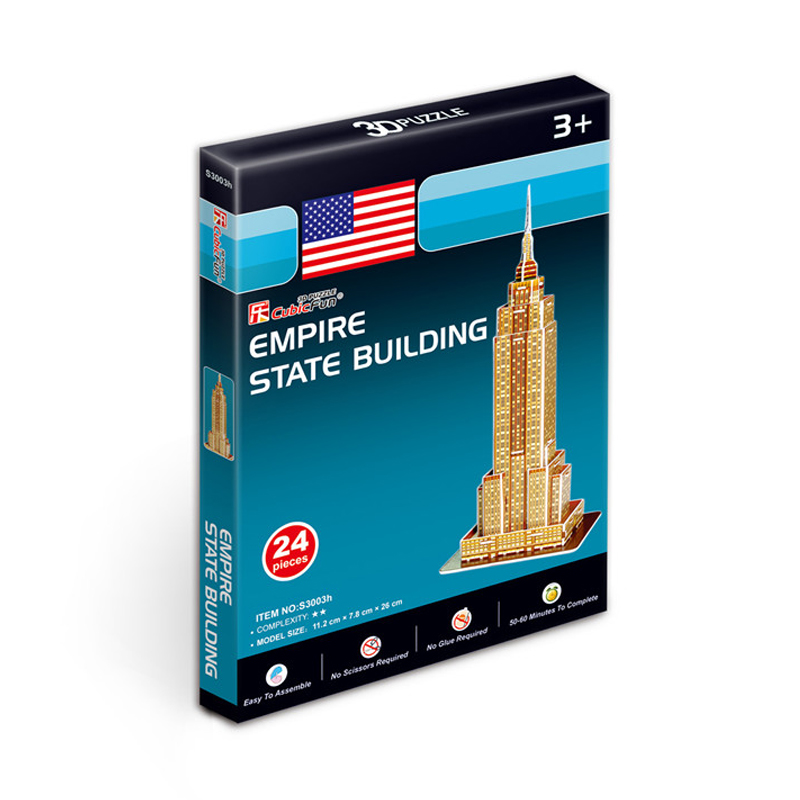 Kids Toys Cubic Fun 3D Puzzle Empire State Building (USA) Model DIY Puzzle Children Toys Birthday Gifts Educational Toys S3003h(China (Mainland))