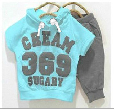 2015 children clothing set, summer style kids clothes cream 369 boys & girls clothes baby set short-sleeve T-shirt hoodies +pant(China (Mainland))