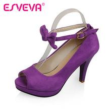 EAVEVA New arrive women pumps sweet bow tie dress wedding shoes high heel platform shoes black purple wine red size 34-43(China (Mainland))