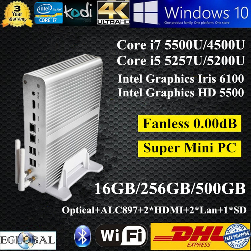 16GB Ram 256GB SSD 500GB HDD Best Windows Mini PC Nettop Intel Core i7 5500U i5 5257U Graphics Iris 6100 HTPC 2 HDMI 2 Nics Wifi(China (Mainland))