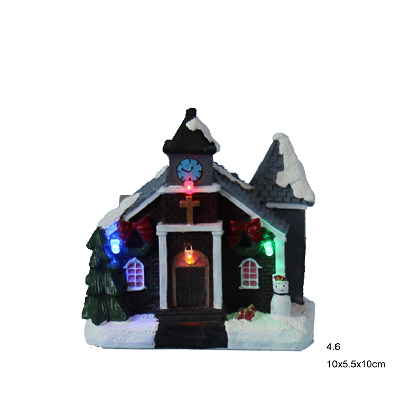 "4"" Flashing LED light Christmas decoration paper mache village church houses lot of 2(China (Mainland))"