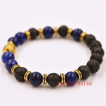 2014 New Men's Beaded Jewelry 8mm Lapis Lazuli Stone Volcanic rock Beads Antique Gold Yoga Buddha Bracelets