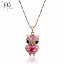2015 New Arrivals 18K Gold Plated Austrian Crystal Pendant Necklace Fashion Jewelry Crystal Colorful Owl Pendants Women Lady