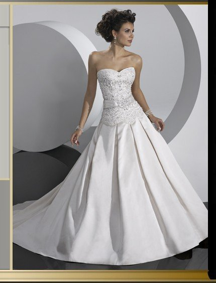 Wholesale - Special Promotion Custom made A Line Square Neck Short Sleeve Chapel Train Real Satin Wedding Dress